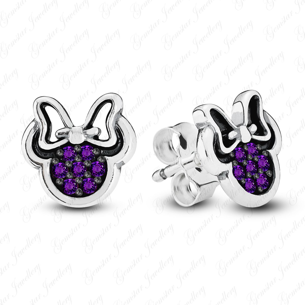 Gemstar Jewellery White /& Black Gold Plated Round Shape Amethyst Minnie Mouse Disney Stud Earrings GEW/_0008/_AME