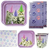 Kitten Deluxe Party Packs (70 Pieces for 16 Guests!), Kitten Party Decorations, Cat Birthday Supplies