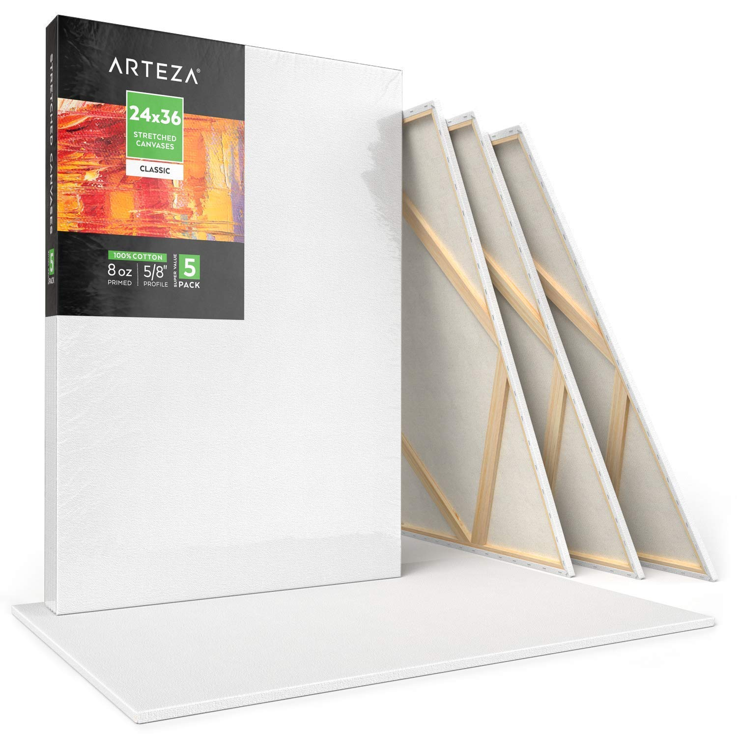 """Arteza 24x36"""" Stretched White Blank Canvas, Bulk Pack of 5, Primed, 100% Cotton for Painting, Acrylic Pouring, Oil Paint & Wet Art Media, Canvases for Professional Artist, Hobby Painters & Beginner by ARTEZA (Image #1)"""