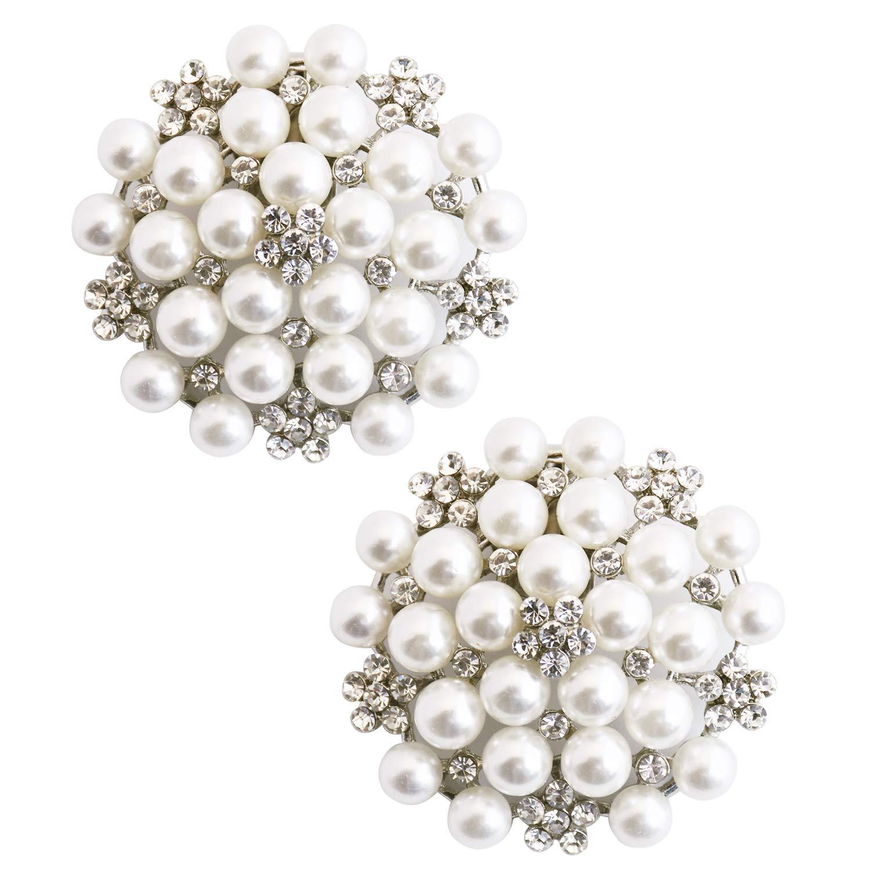 ElegantPark CW Crystal Decoration Wedding Party Accessories Gift Shoe Clips 2 Pcs Silver