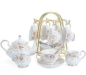 21-Piece Porcelain Ceramic Tea Gift Sets, Cups& Saucer Service for 6, Teapot, Sugar Bowl, Creamer Pitcher and Teaspoons.