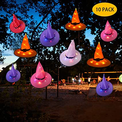 Febsnow Halloween Decorations Witch Hat Outdoor 10 Pcs Hanging Lighted Glowing Witch Hat Decorations Halloween Lights String Halloween Decor For