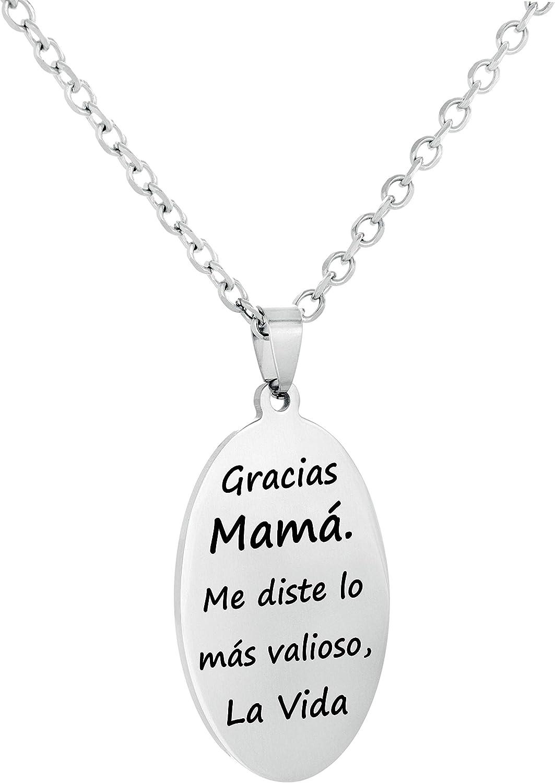 TEMPUS FUGIT. Regalo para Mamá. Colgante/Collar Oval de Acero Inoxidable Brillante Antialérgico, con Mensaje Grabado y Cadena de 50 cm