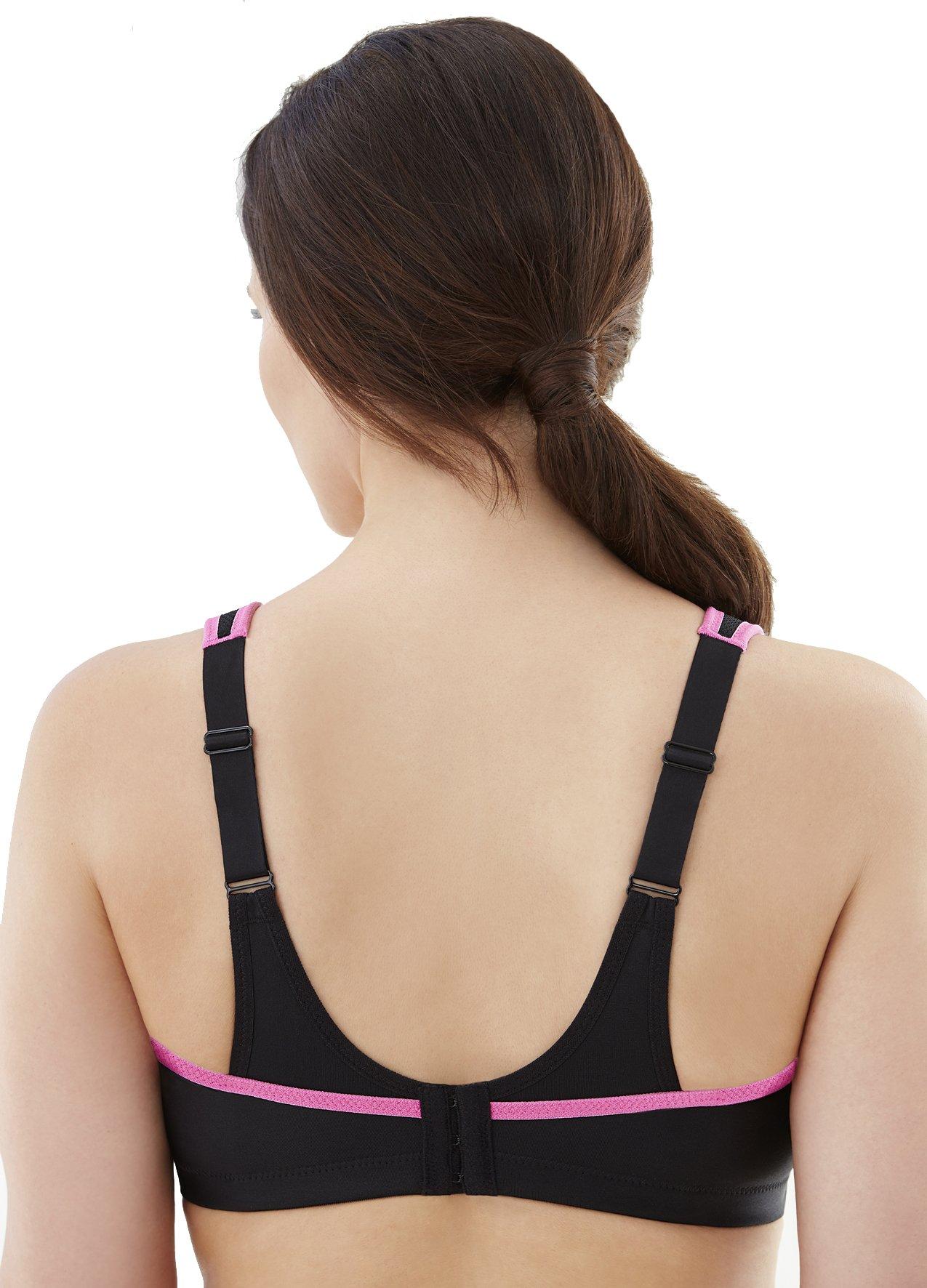 Glamorise Women's Full Figure No Bounce Cami Sport Bra, Black/Pink, 36DD by Glamorise (Image #2)
