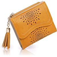 APHISONUK Modello scava fuori piccola borsa delle donne Portafoglio in pelle PU corto Bifold Money Organizer Tassel/Pacco regalo