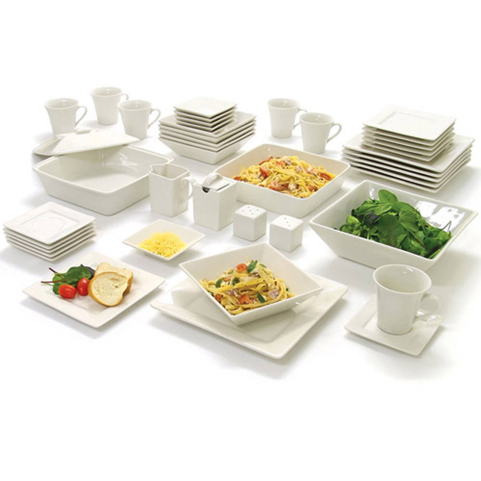 45 Piece White Dinnerware Set Square Banquet Plates Dishes Bowls Kitchen Dinner by Love+Grace (Image #1)