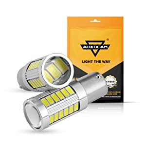 Auxbeam Extremely Bright 1156 P21W BA15S LED Light Bulbs 800LM 33Pcs 5630 SMD LED Bulb for Back Up Reverse Lights, Xenon White (Pack of 2)