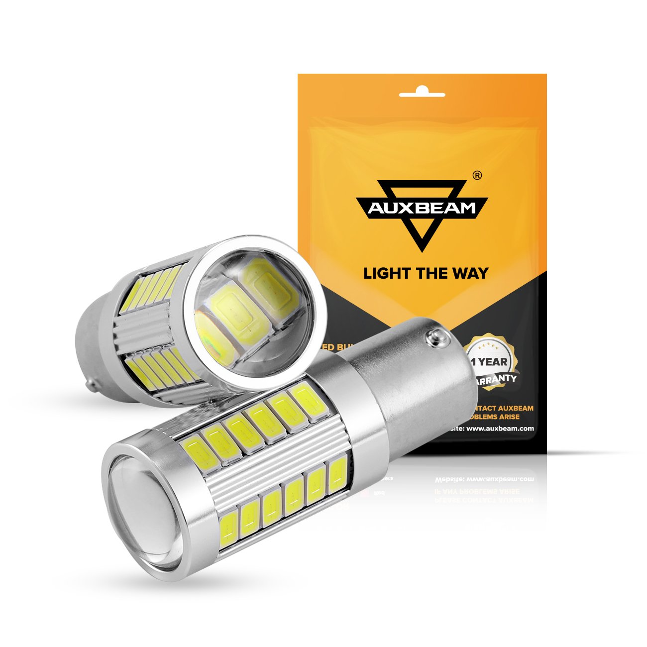 Auxbeam Extremely Bright 1156 P21W BA15S LED Light Bulbs 800LM 33Pcs 5630 SMD LED Bulb for