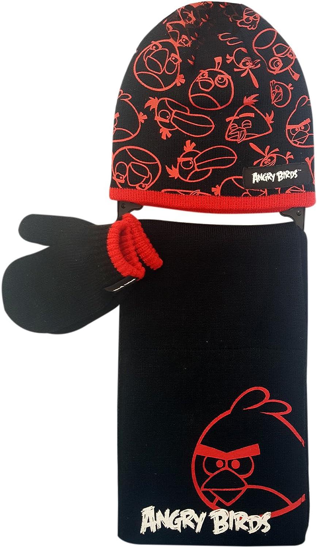 Angry Birds Jungen Schal /& Handschuh-Set Schwarz schwarz