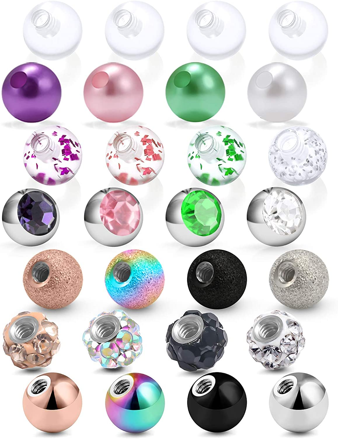 SCERRING 14G Ball for Piercing Replacement Balls Externally Threaded Nipple Industrial Tongue Belly Piercing Rings Body Jewelry Piercing Barbell Parts 5mm 28PCS