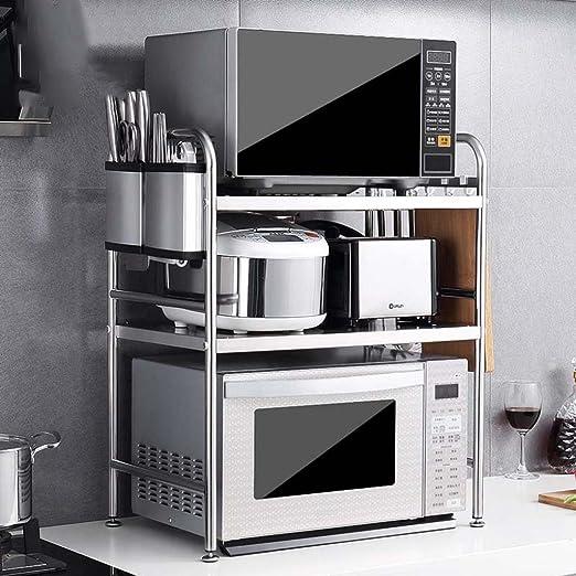 MENA HOME/ Horno de microondas de acero inoxidable Estantería de cocina Estante de 3 capas Estante de horno Estante de almacenamiento 58 Largo
