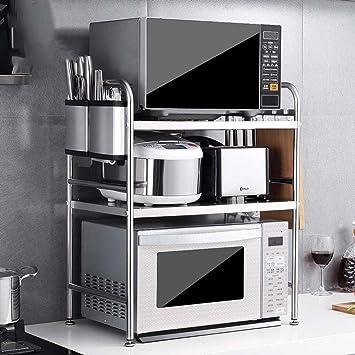 MENA HOME/ Edelstahl-Mikrowellenherd-Regal-Küche-Regal 3 Schichten  Ofen-Regalspeicher-Zahnstange 58 lang