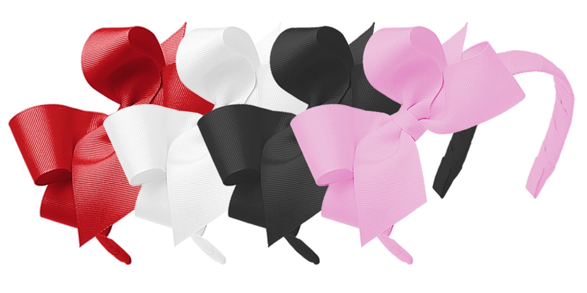Wee Ones Girls' Classic Grosgrain Headband with Medium Bow 4pc Set Solid Variety Pack - Red, White, Black and Pearl by Wee Ones