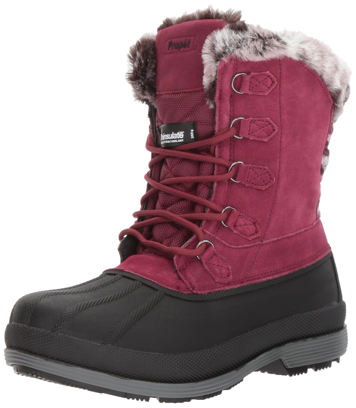 Propet Women's Lumi Tall Lace Snow Boot, Berry, 8 2E US