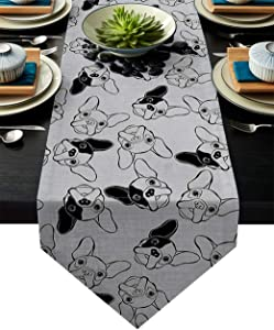 Table Runner Funny Animal Cute Pet Bulldog Image Table Runners for Catering Events, Dinner Parties, Wedding, Indoor and Outdoor Parties, 18 x 72 Inch