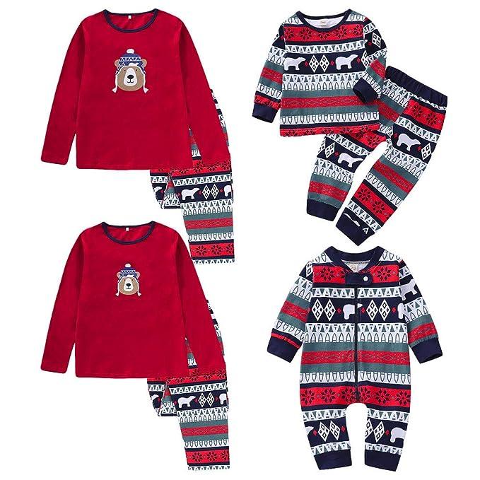 feiXIANG Famiglia Pigiami Natale Pigiama Stampa Cervi Bambina Donna Ragazza  Set 2 3 Pezzi Uomo Costume Bambino Camicie da Notte Invernali Pantaloni Top  ... fdf0d6610c7