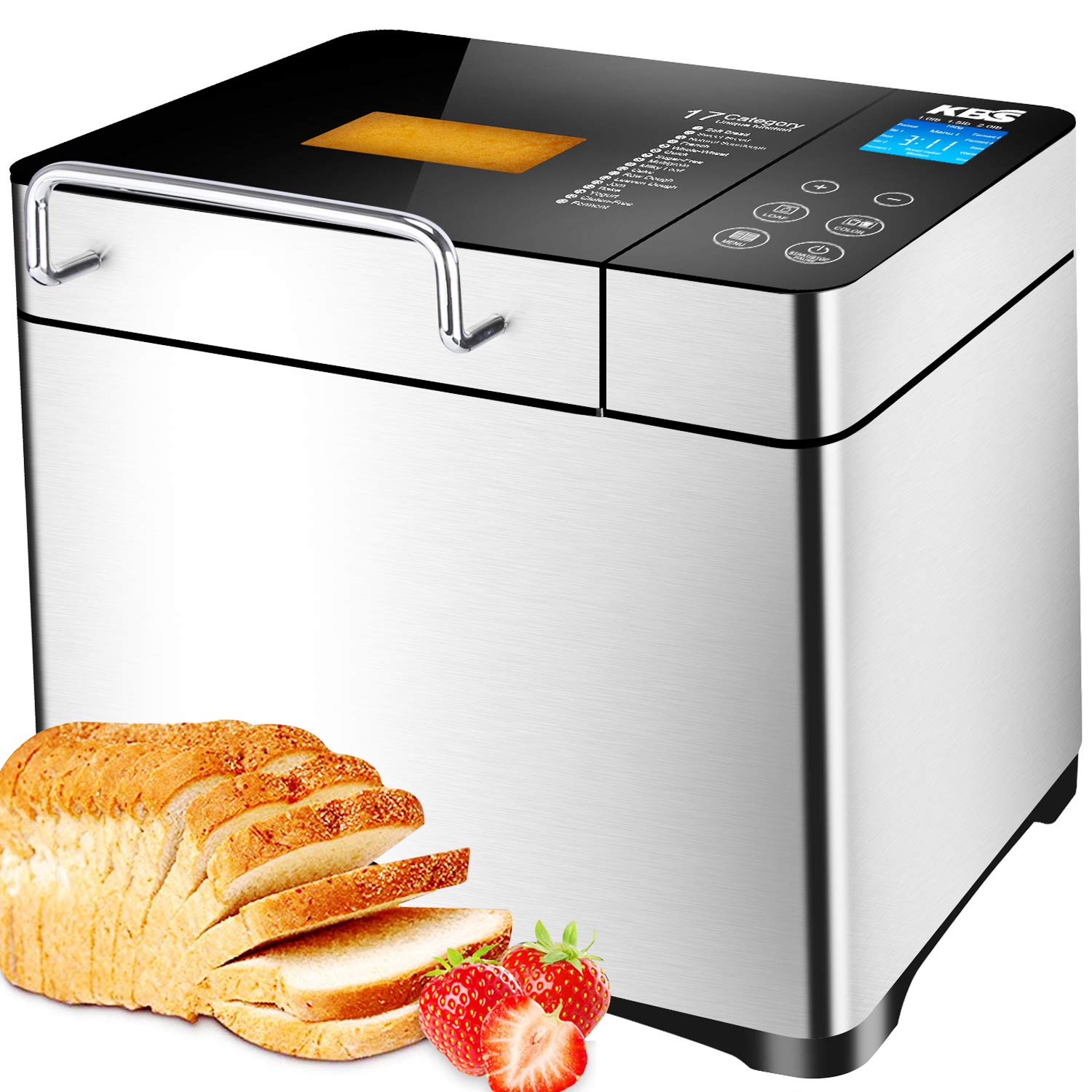 KBS Bread Machine, Automatic 2LB Bread Maker with Nuts Dispenser, LCD Display Touch Control, 3 Crust Colors 17 Menus, 1 Hour Keep Warm 15 Hours Delay Time, Gluten Free Whole Wheat, Stainless Steel by KBS