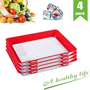Food Plastic Preservation Tray, Healthy Creative Tray Kitchen Tools, for Healthy Seal Storage Container for Keep Food Fresh (4Pack)