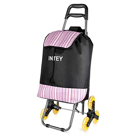 INTEY Trolley Dolly Shopping Grocery Foldable Cart with Wheels Stair  Climbing with Seat, 10(us gal)