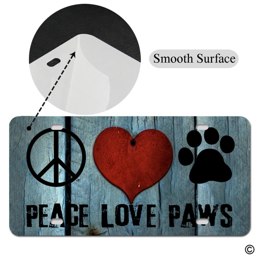 MsMr License Plate Cover with 4 Holes Peace Love Paws Designed Decorative Metal Car License Plate Auto Tag