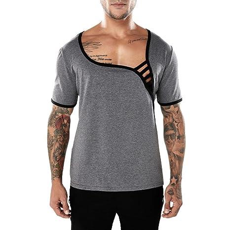 Camiseta Para Hombre,ZARLLE Hombres Correas De Color SóLido La Camisa De Las Tees Camiseta