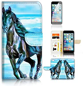 ( For iPhone 6 Plus / iPhone 6S Plus ) Flip Wallet Case Cover and Screen Protector Bundle A20254 Horse Paint