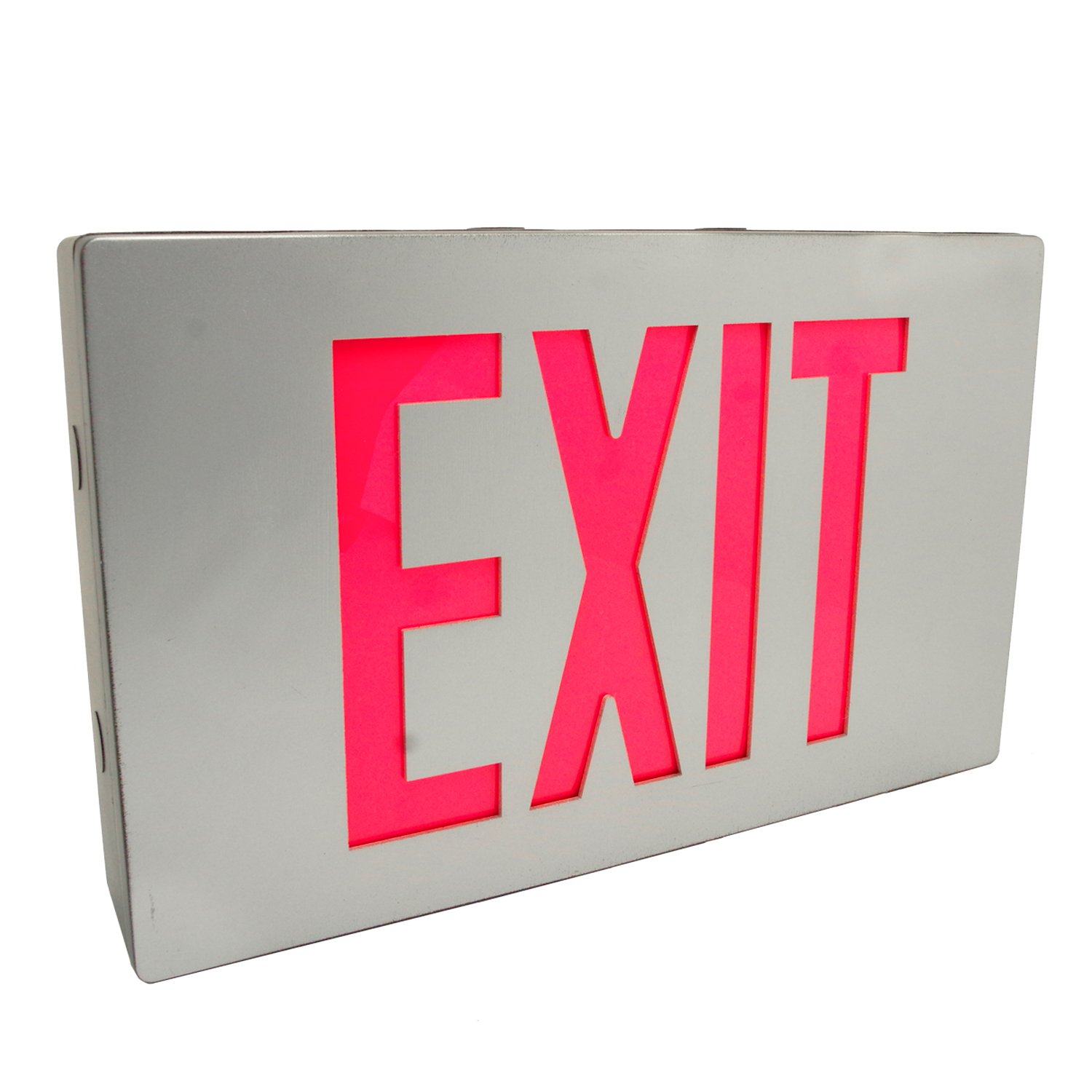 eTopLighting Die Cast Exit Sign LED Light Panel, Aluminum Brushed with Red Lettering, Wall and Ceiling Mount with Battery Back-Up, AGG2731
