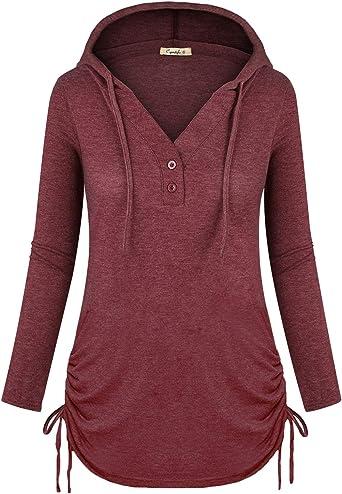 Womens Ladies Hoody Hooded Sweatshirt Top Pullover Jumper Hoodie Slim Fit V Neck