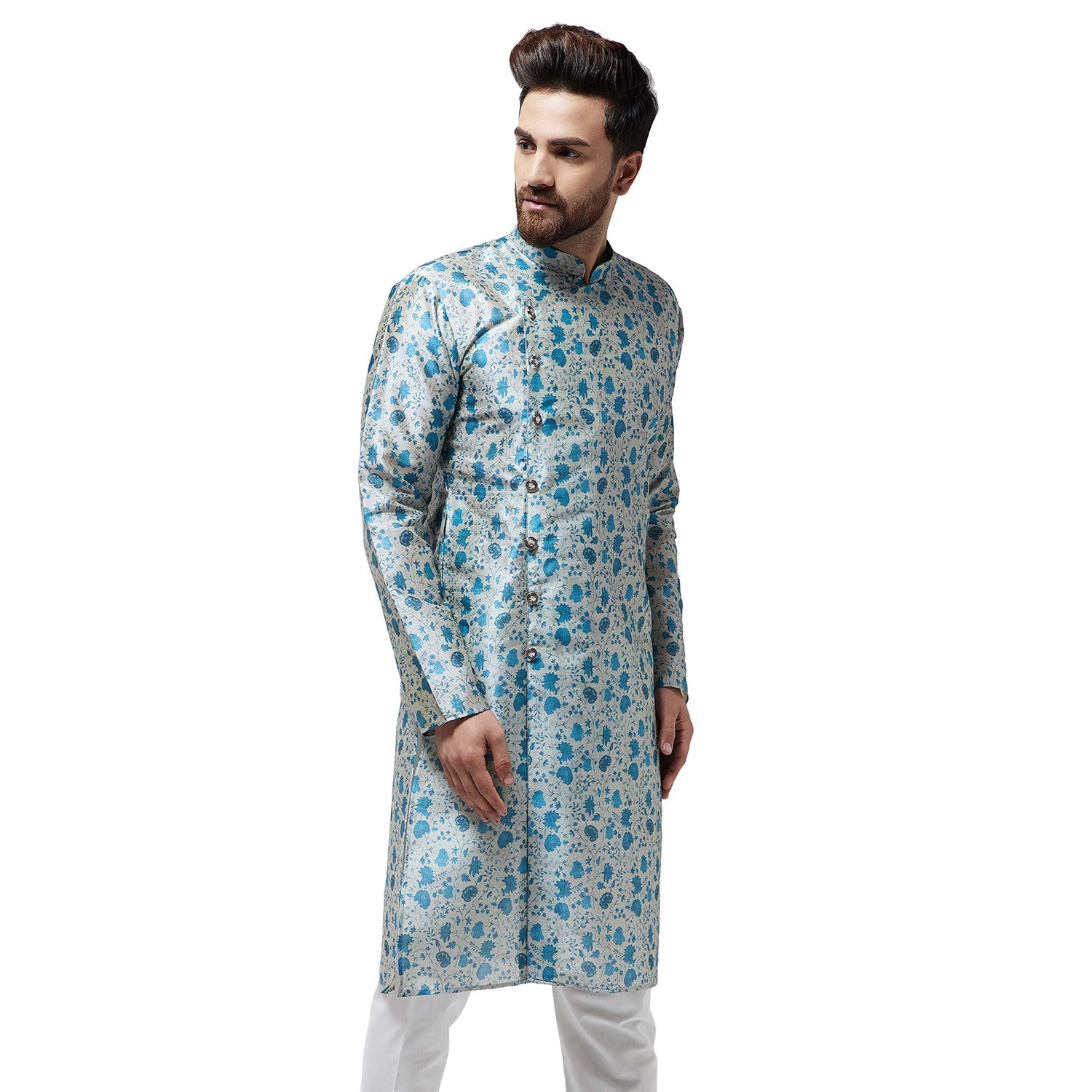 Festival-Men-Dupion-Silk-Kurta-Pajama-Ethnic-Party-Wear-Bollywood-Dress-Pyjama thumbnail 18