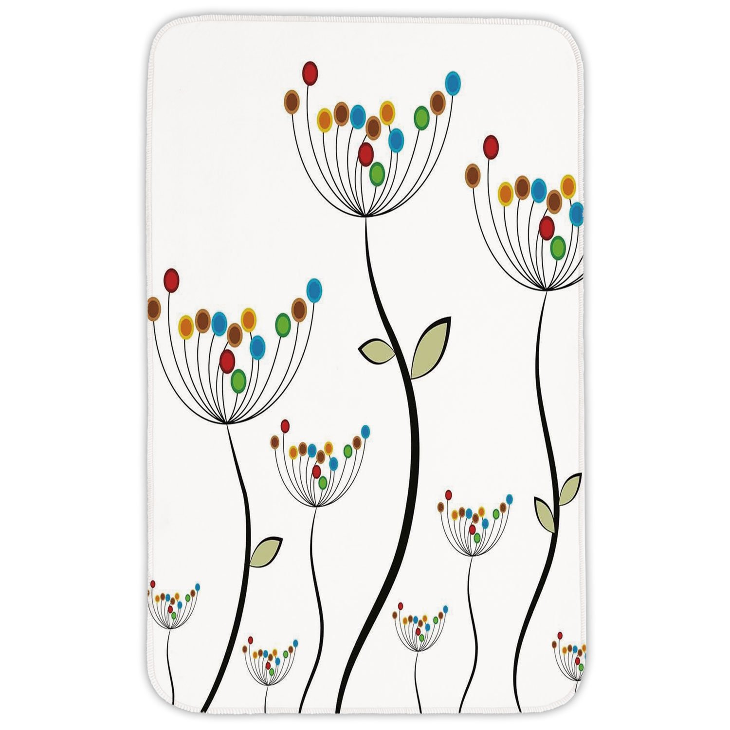 Rectangular Area Rug Mat Rug,Garden,Colorful Dandelions Stems Buds Leaves Bedding Plants Wildlife Meadow Cottage Theme,Multicolor,Home Decor Mat with Non Slip Backing by iPrint (Image #1)