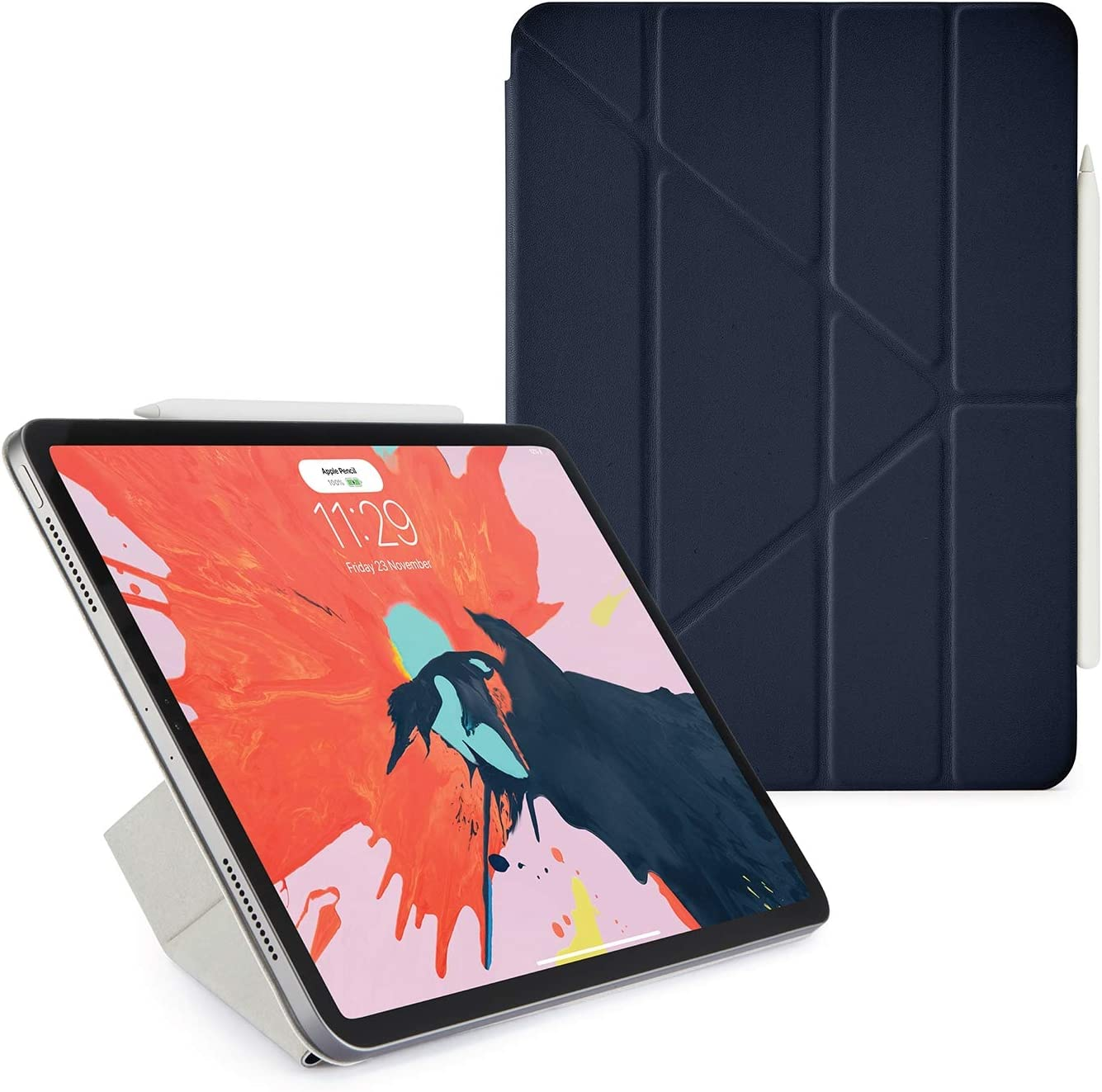 PIPETTO 11 inch iPad Pro (2018) Origami Smart Folio Case | Apple Pencil 2 Sync and Charge | 5 in 1 Folding Position with Auto Sleep/Wake Function - Navy