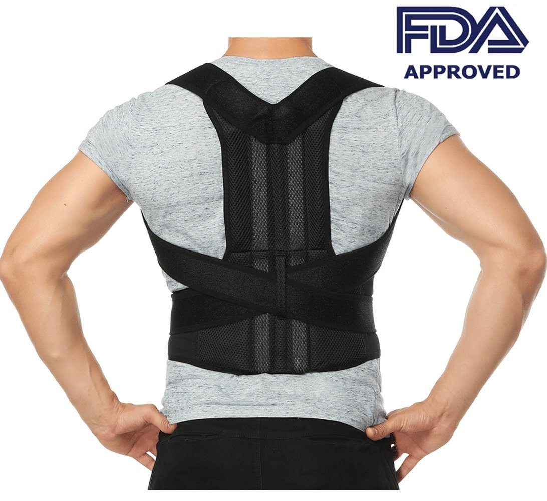 Comfort Posture Corrector Back Support Brace Improve Posture and Provide Lumbar Support For Lower and Upper Back Pain For Men and Women Full Adjustable Elastic Straps (27.5''-49.2''waist)