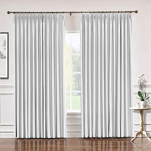 TWOPAGES 150 W x 96 L Pinch Pleat Faux Silk Blackout Curtains Drapery Panel