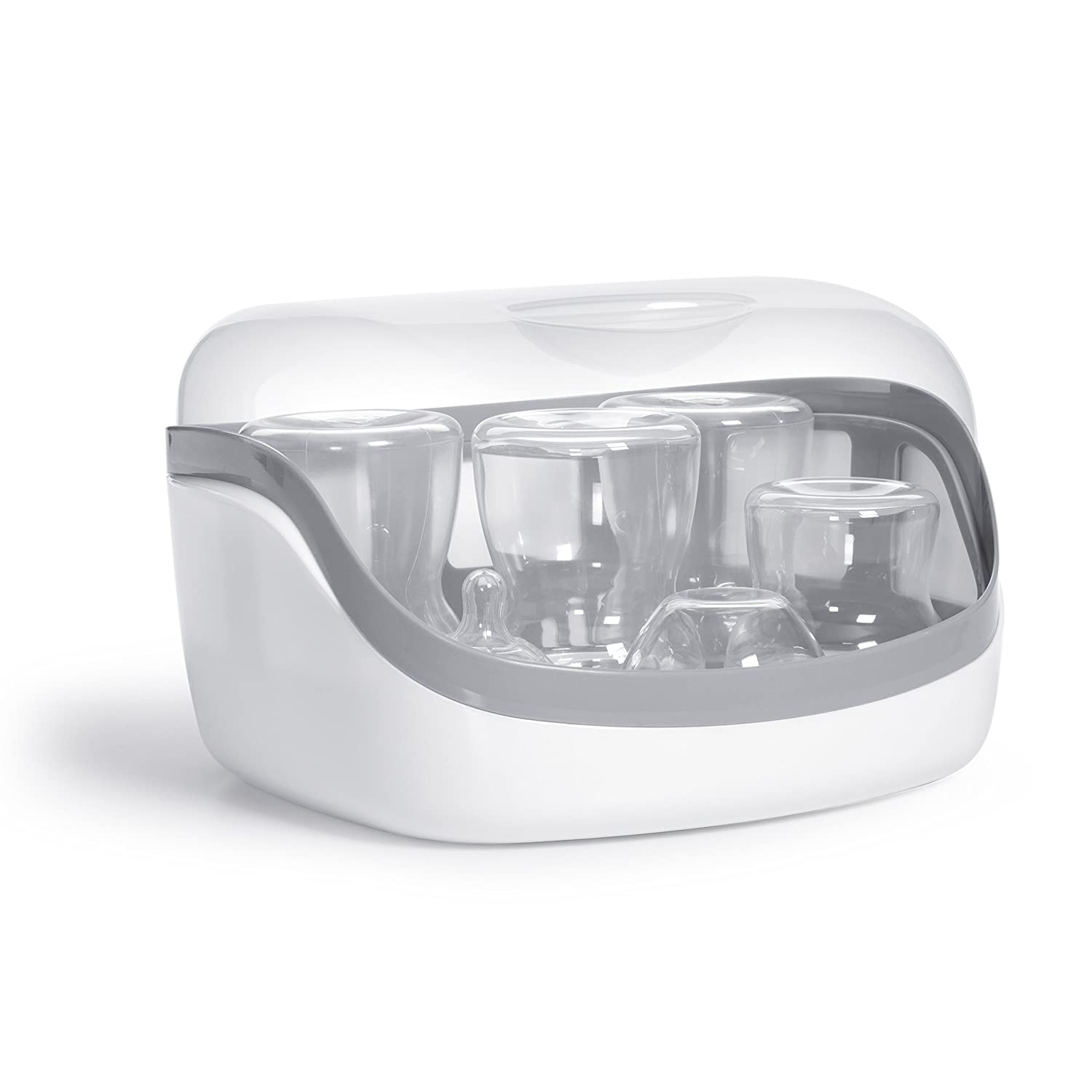 Microwave Steam Sterilizer - eliminates 99.9% of Harmful Bacteria Quickly and Naturally with The Power of steam, White/Grey