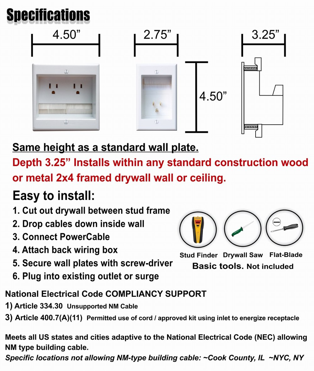 PowerBridge TWO-PRO-6 Dual Power Outlet Professional Grade Recessed In-Wall Cable Management System for Wall-Mounted Flat Screen LED, LCD, and Plasma TV's by PowerBridge Solutions (Image #5)
