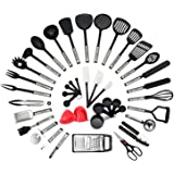 NEXGADGET Premium Cooking Utensils Set 42-Piece Stainless Steel and Nylon Kitchen Utensil Set Cooking Tools & Gadgets Including Fork Can Opener Tong Spatulas Grater Kitchen Scissor Ladle Turner Spoon Cup Peeler Masher Whisk and more