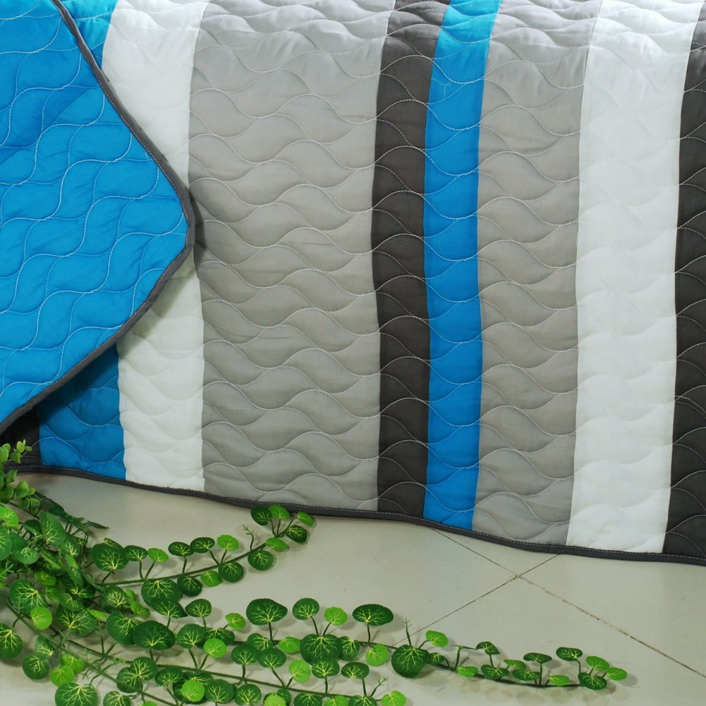 [Health Life] 3PC Vermicelli-Quilted Striped Quilt Set (Full/Queen Size) by Onitiva Quilt (Image #4)