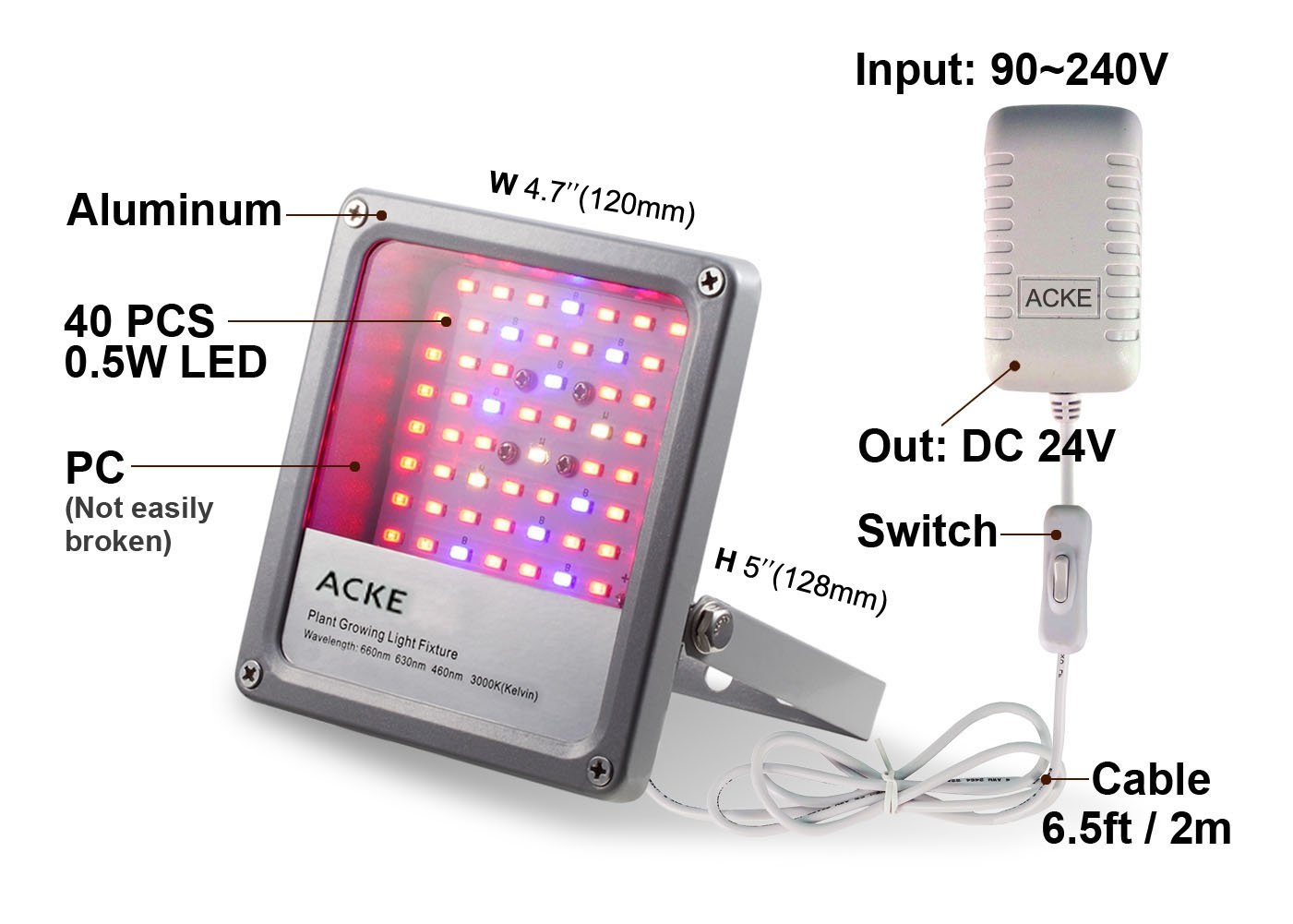 ACKE LED Grow Lights Full Spectrum,Plant Lights,Growing lamps 12W for Indoor plants,Hydropoincs by ACKE (Image #3)