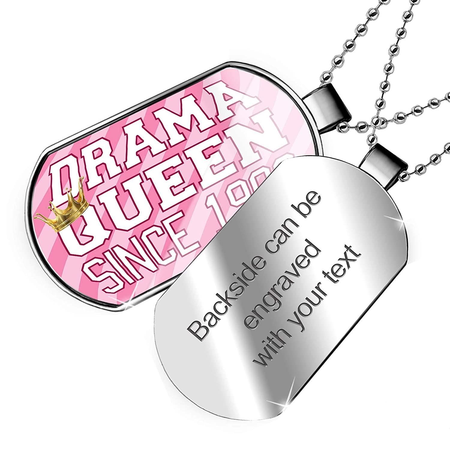 NEONBLOND Personalized Name Engraved Drama Queen Since 1982 in Pink Dogtag Necklace