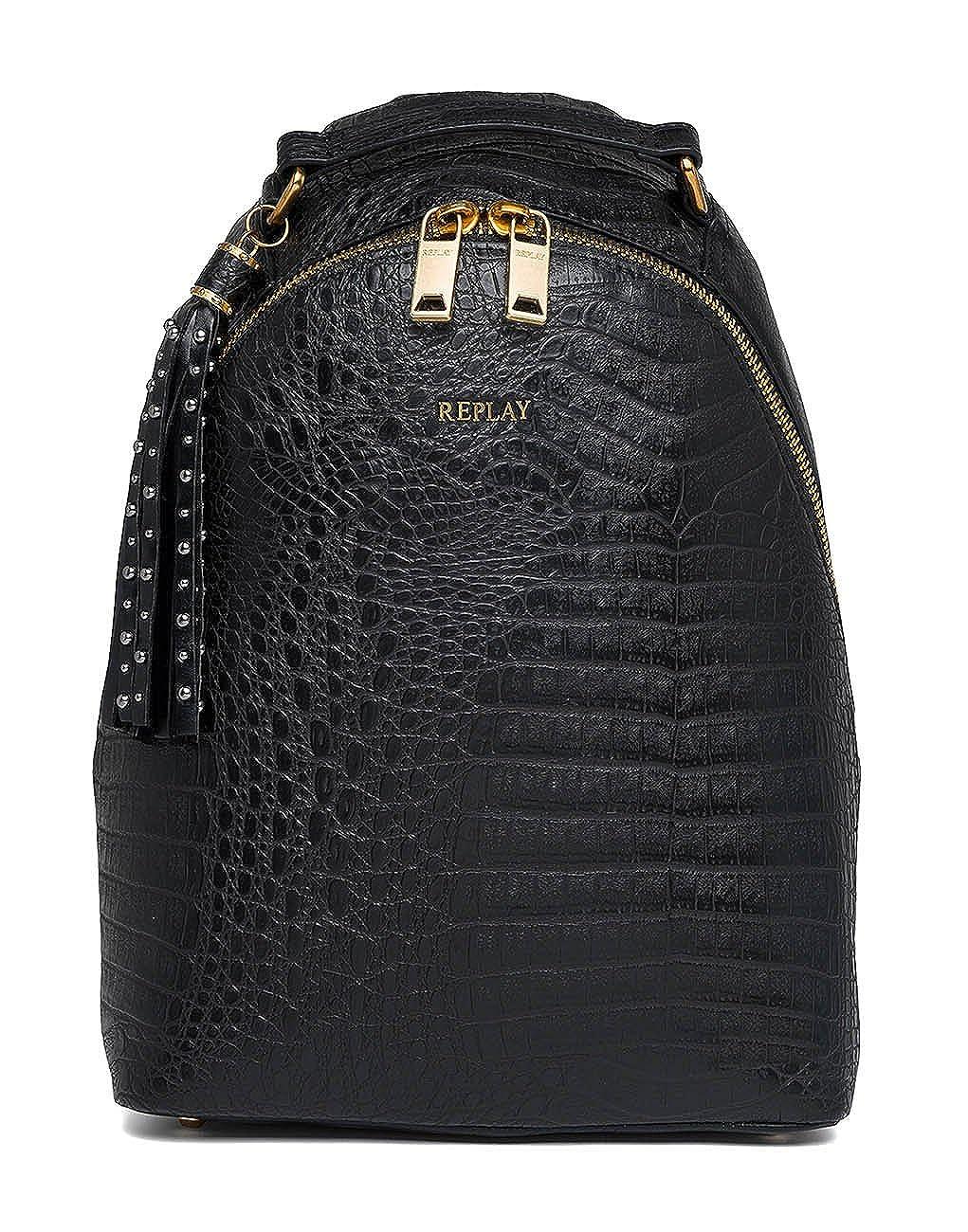 リプレイFw3758.000.a0364、女性のバックパックハンドバッグ、黒、11 x 34 x 24,5 cm(B x HT) B07CL2V662