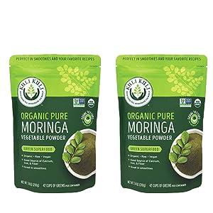 Kuli Kuli Moringa Oleifera Organic Leaf Powder & Green Smoothie, 100% Pure USDA Certified & Non-GMO Moringa Powder, Great with Smoothies, Tea, and Food, 2 Pack