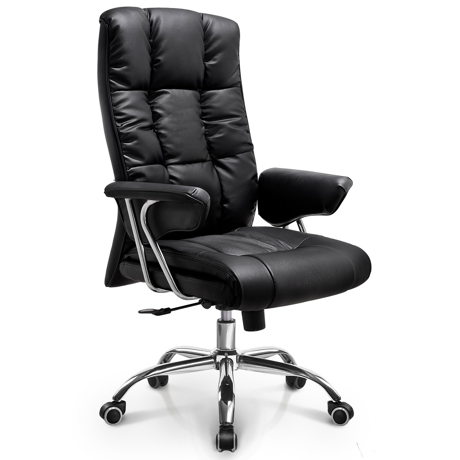 NEO CHAIR Office Chair Computer Desk Chair Gaming - Ergonomic High Back Cushion Lumbar Support with Wheels Comfortable Black Upholstered Leather Racing Seat Adjustable Swivel Rolling Home Executive