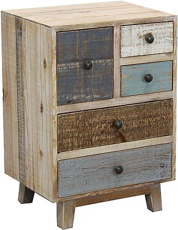 cassettiera in Legno Mobile per Interno con 9 cassetti di Design Stile Country Moderno Vintage Milani Home s.r.l.s