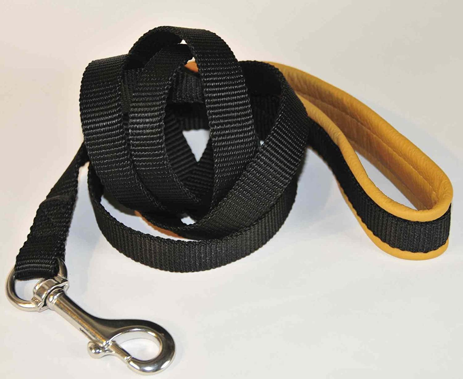 Dean & Tyler  Padded Puppy  Strong Nylon Dog Leash Stainless Steel Hardware Black With Brown Padding 152cm 2cm Width Nappa Leather Padded Handle Great for Everyday Use. Goes Great with Our NYLON Harnesses. Available Size 183cm, 152cm, 91cm, 61cm.