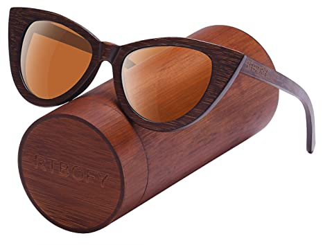 09e1861af47a1 Wood Polarized Cat Eye Sunglasses For Women Wayfarer Style - 100% UV  Protection (Brown