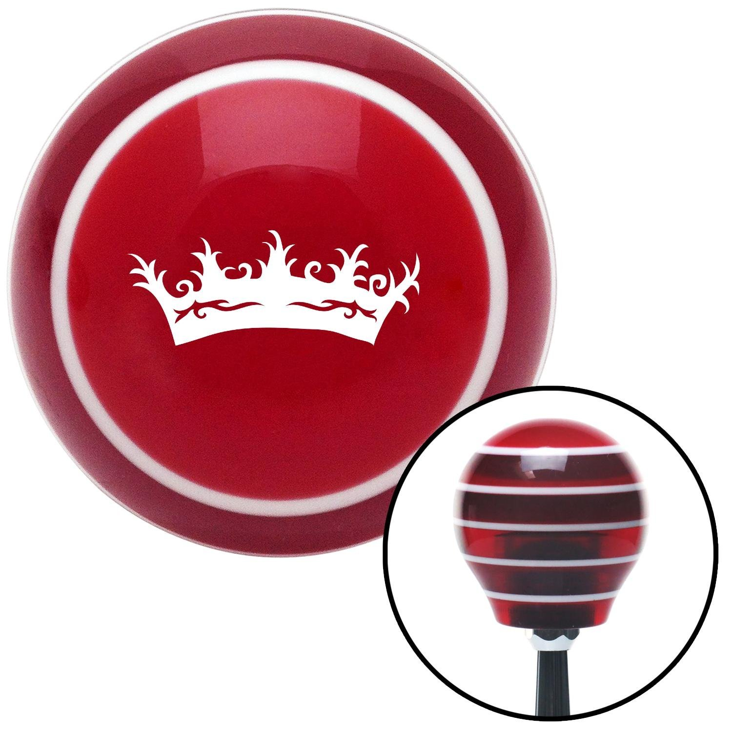 American Shifter 113158 Red Stripe Shift Knob with M16 x 1.5 Insert White Prince Crown