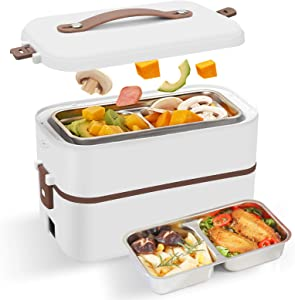 Esimen Self Cooking Electric Lunch Box, Stainless Steel Mini Bento Rice Cooker, 2 Layers Steamer Lunch Box for Home Office School Travel Cook Raw Food Egg Steamer Food Heater (Two Layers)