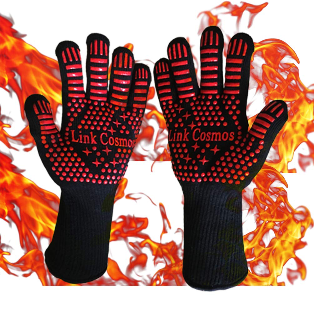 YinkYang Heat Resistant BBQ Oven Grill Gloves for Cooking Baking Boiling Hot Food Handling High Heat 1472°F Fireproof Long Cuff Pot Holder Forearm Protection
