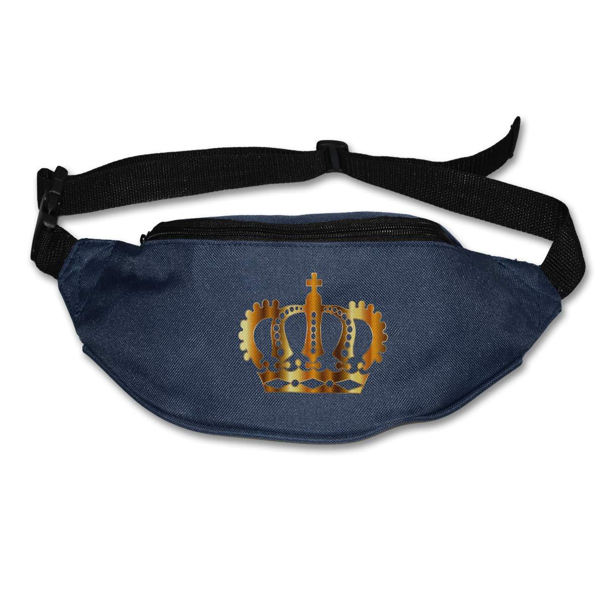 Gold German Imperial Crown Sport Waist Bag Fanny Pack Adjustable For Travel