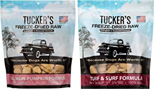 Tucker's Freeze Dried Raw Dog Food, Salmon & Pumpkin Formula and Turf & Surf Formula, Fish Variety Pack of 2